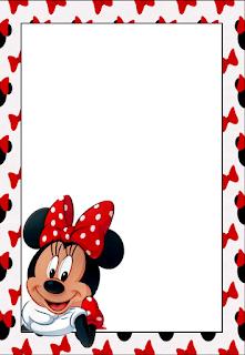 Para hacer invitaciones, tarjetas, marcos de fotos o etiquetas, para imprimir gratis de Minnie Mouse .
