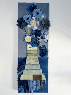 Floral Art Arrangement, Denim Artwork  Miabo Enyadike