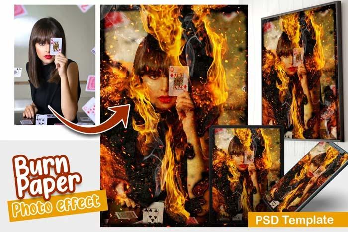 Burn Paper PSD Photo Template