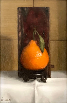 Clementine orange, vintage wooden box, opium cache, still life, original oil painting