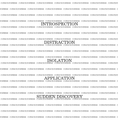 Centered words introspection, distraction, isolation, application, and sudden discovery within a tiled pattern of the word consciousness.
