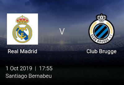 LIVE MATCH: Real Madrid Vs Club Brugge UEFA Champions League 01/10/2019
