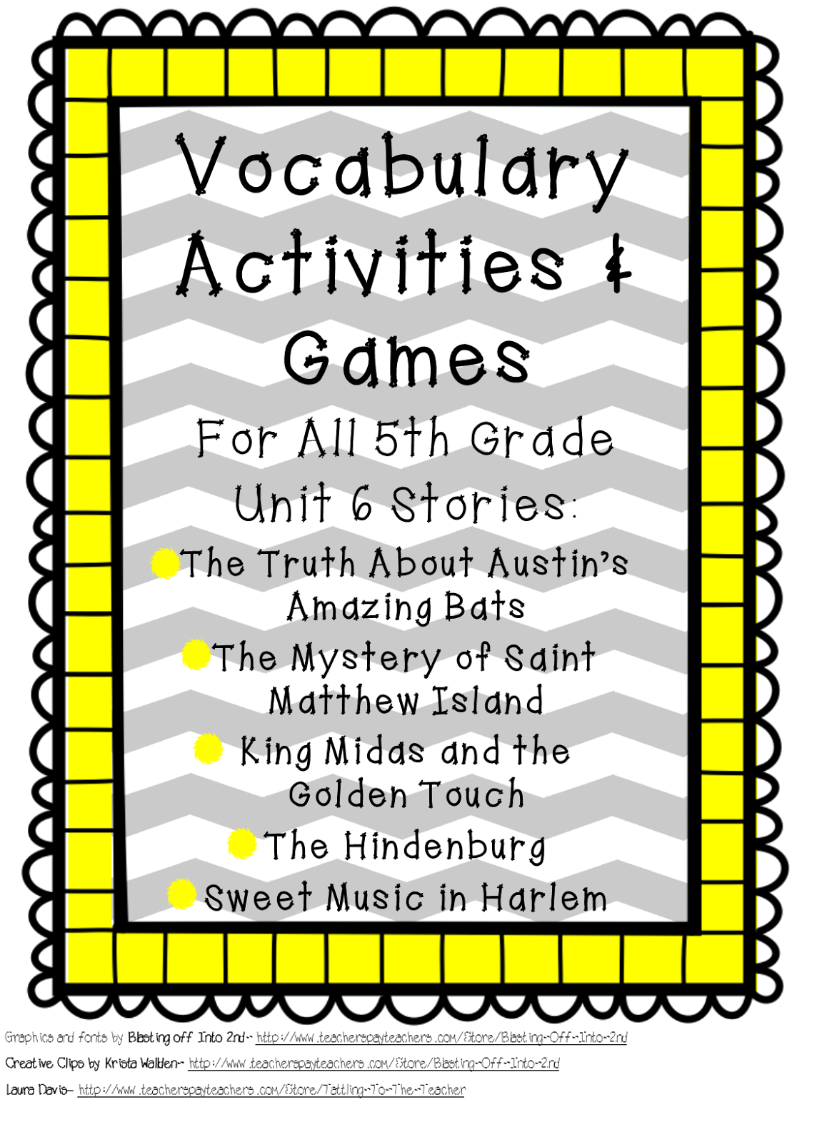 Fifth Grade Is Fab Reading Street Vocabulary Sale