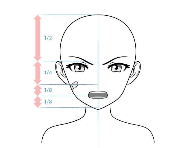 Anime gambar wajah marah karakter wanita tangguh