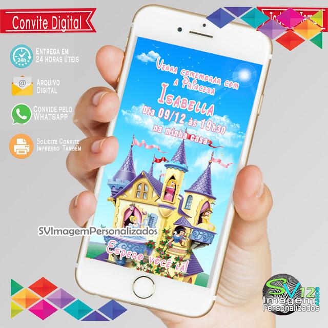 Convite Digital As Princesas  Disney dicas e ideias para decoração de festa personalizados