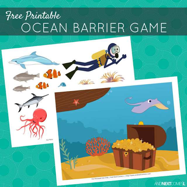 Free printable ocean themed barrier game for kids from And Next Comes L