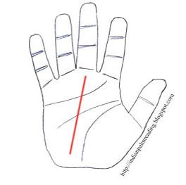 भाग्य रेखा यानि Fate Line जो की हाथ की एक मुख्य रेखा है।  भाग्य रेखा से व्यक्ति के रोजगार और जीविका का पता चलता है।