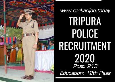 Tripura Mahila Police Recruitment 2020