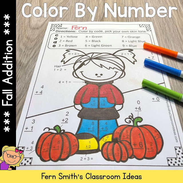 Fall Color By Number Addition - Five Student Worksheets and Five Matching Answer Keys! #FernSmithsClassroomIdeas
