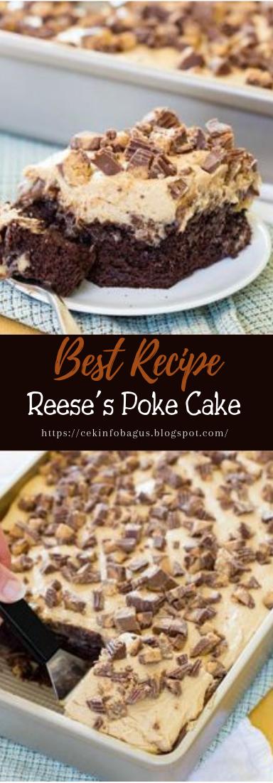 Reese's Poke Cake #desserts #cakerecipe #chocolate
