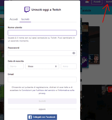 Come registrarsi su Twitch tv