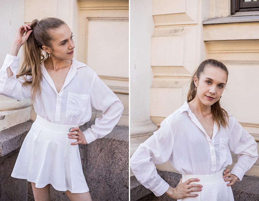 Kokovalkoinen kesäasu tennishameen kanssa // All white summer outfit with a tennis skirt