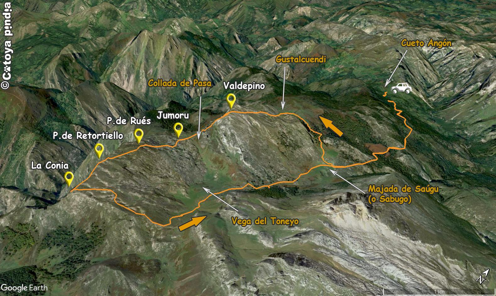 Mapa 3D de la ruta a la Porra de Valdepino y La Conia por la Senda del Arcediano.