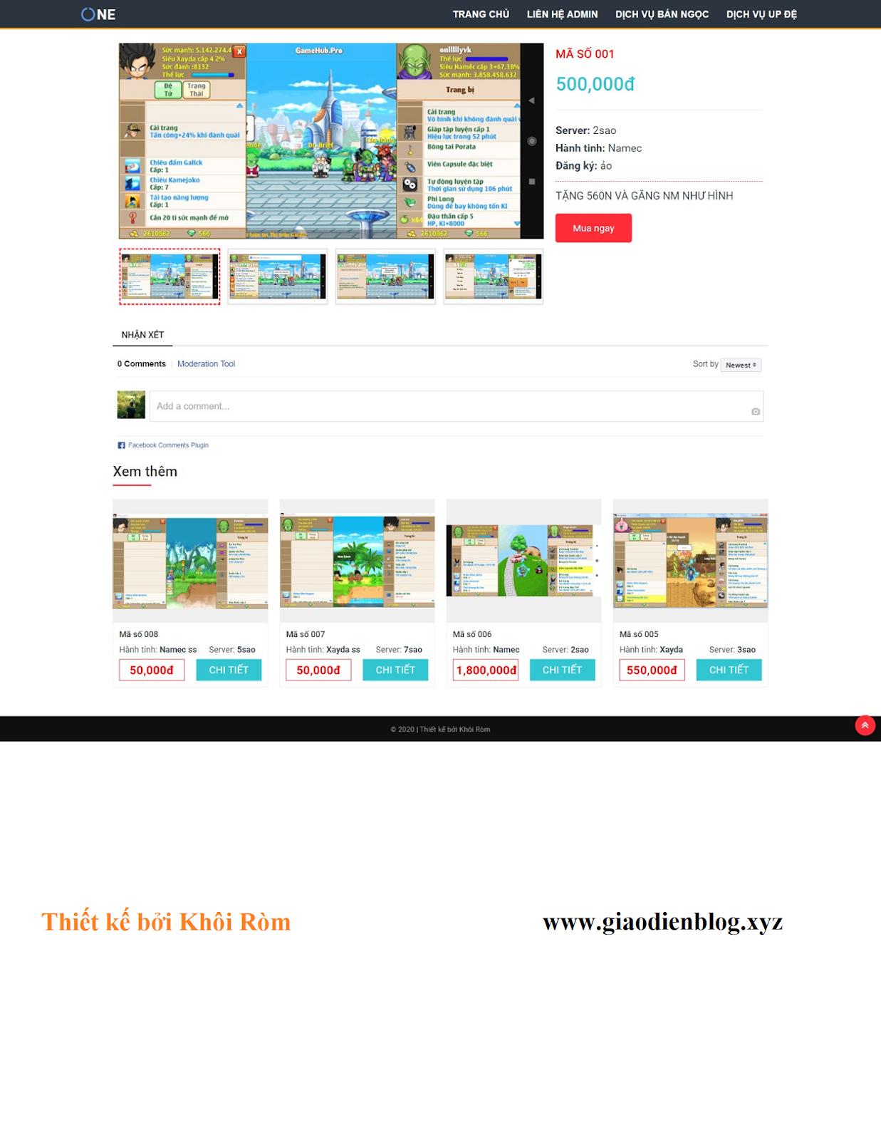 Mẫu giao diện blogspot bán acc game ngọc rồng - Ảnh 2