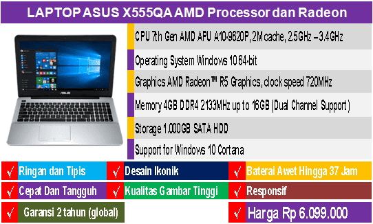 laptop asus amd x555qa laptop terbaru asus multimedia