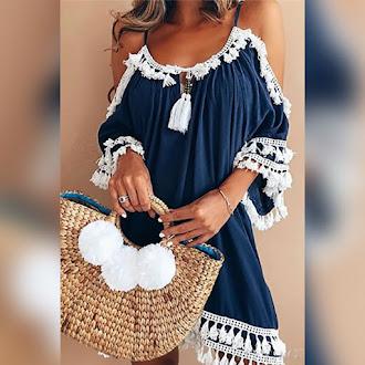 Εντυπωσιακό  σκούρο μπλε φόρεμα MONNY