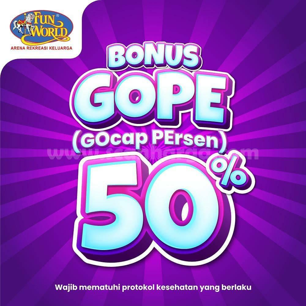Promo FUNWORLD Bonus GOPE [Gocap Persen] 50%