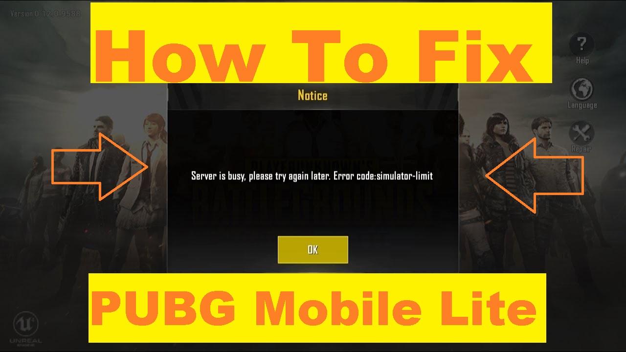 Pubg Mobile Lite Semulator Limit error FIx