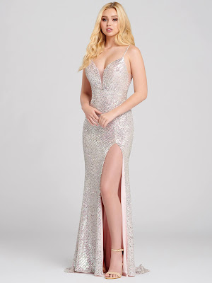 Ellie Wilde Sequin Fitted Petal Color Prom Dress