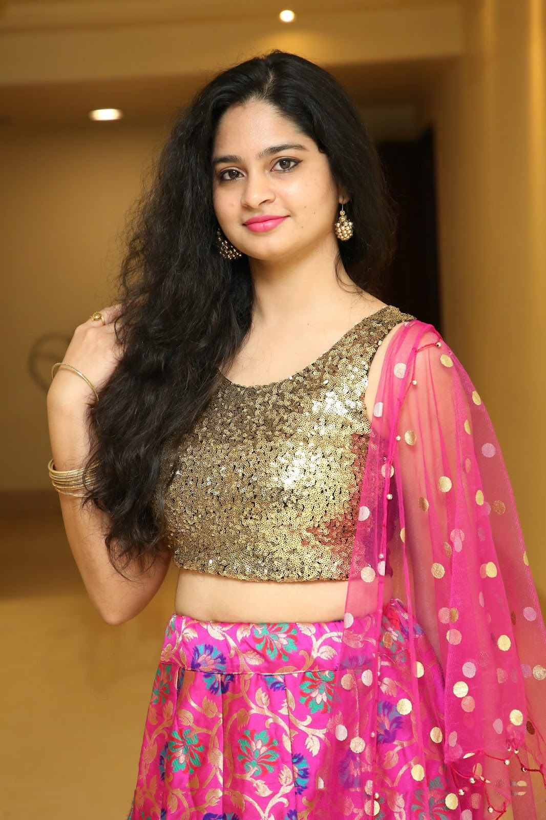 Purvi Thakkar in Golden choli Printed Pink Ghagra Spicy Pics