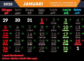 Download Template Kalender Terbaru 2020 via Google Drive
