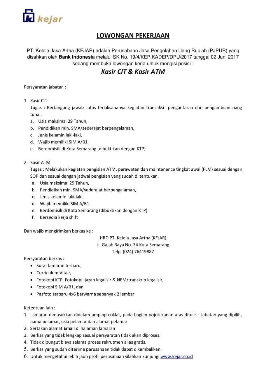 Lowongan Kerja Semarang PT KELOLA JASA ARTHA (KEJAR)