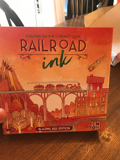 railroad ink blazing red edition board game cover