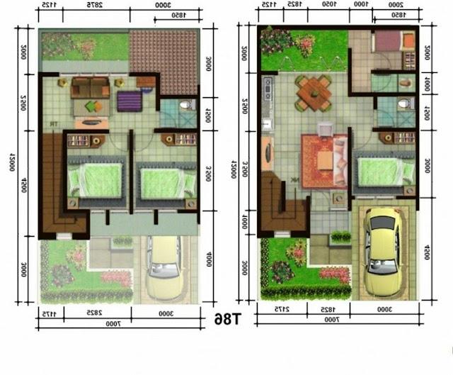 Kumpulan Gambar Denah Rumah Type 36 1 & 2 Lantai Plus Garasi