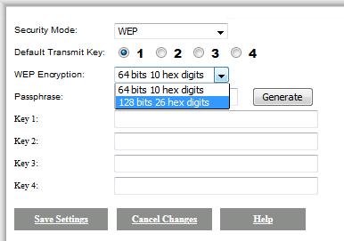 مستوى التشفير WEP