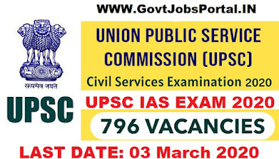 UPSC IAS Exam Notification 2020  UPSC Indian Civil Services Examination 2020
