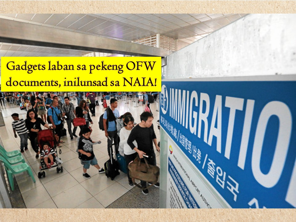 To speed up the departure process of Overseas Filipino workers (OFWs), the Bureau of Immigration (BI) is now using technologies such as tablets and bar code readers in the Ninoy Aquino International Airport (NAIA). Those technologies are now used to check the legitimacy and validity of OFW documents such as E-card or Overseas Employment Certificate (OEC) from the Overseas Workers Welfare Administration (OWWA).  In a statement, BI Port Operations Division Chief Grifton Medina said that BI personnel at NAIA are now using six tablets and six bar code readers from the OWWA to check the authenticity of OFW documents at NAIA.  The new measure was launched last March 5, 2019, for the hassle-free travel experience of OFWs who are departing for work in other countries. Aside from the E-card or the OEC, the new gadgets will also help in screening and intercepting fake documents and information being given to some OFWs.   Medina said that gadgets will let immigration personnel assigned at the airport to conduct pre-screening of OFWs even before they arrived at the counters.  He added that the system automatically checks the validity of E-card which contains the OEC information on an OFW. And because the process will take in a matter of seconds, it will expedite the departure process of the OFW.