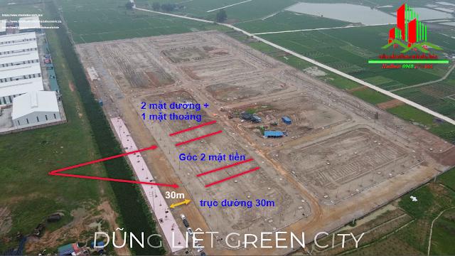 Bán lô góc hai mặt tiền giá đầu tư dự án Dũng Liệt Green City