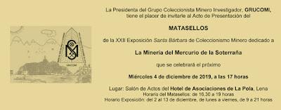 Invitación a la XXII exposición de coleccionismo minero de GRUCOMI