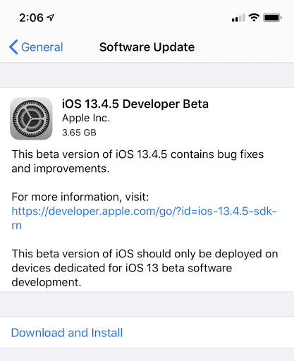 Apple Releases First Beta Of iOS 13.3.5, macOS 10.15.5, And tvOS 13.4.5 (Updated)