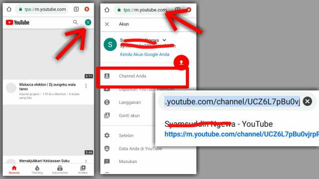 Cara copy link channel youtube