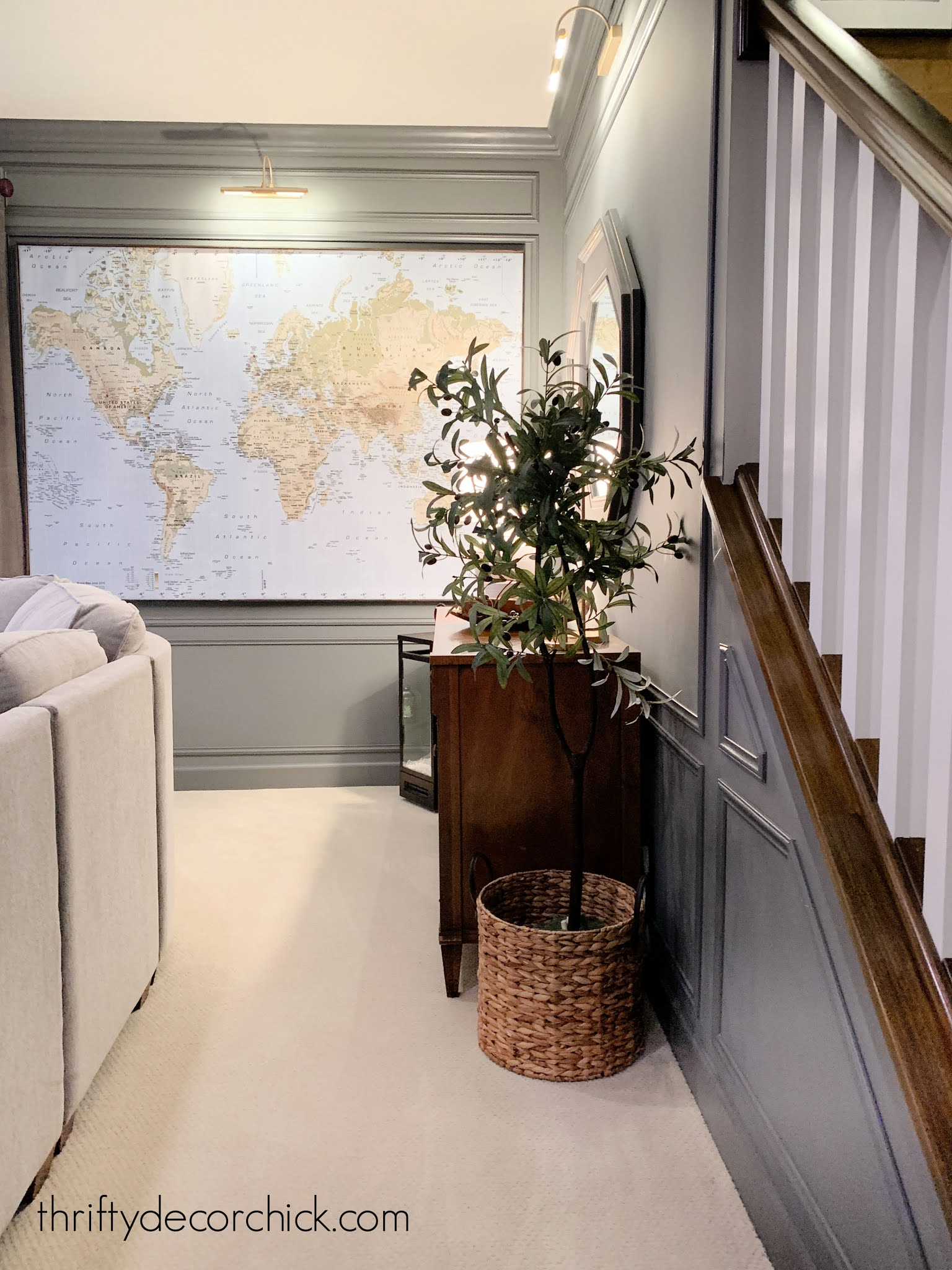 box trim on walls with large map