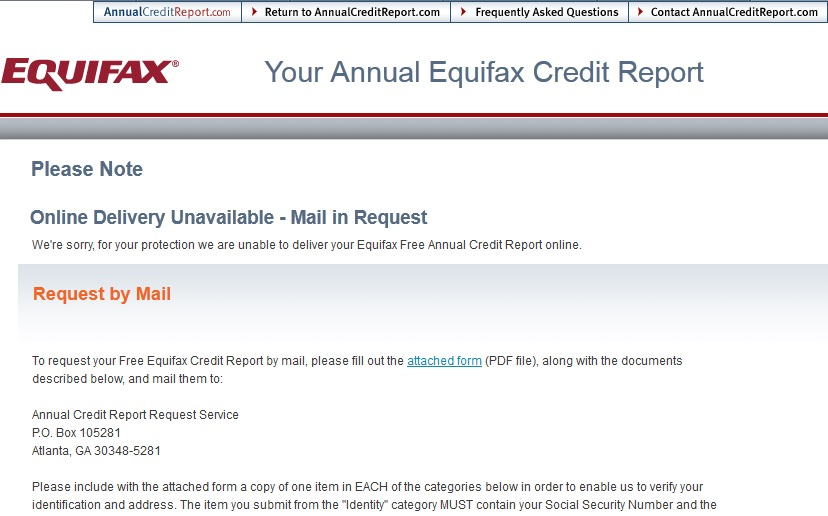 My Equifax Free Credit Report FAIL Free By 50 - annual credit report form