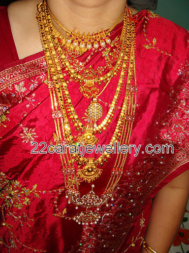 Rani Haram And Gold Gundla Mala Jewellery Designs