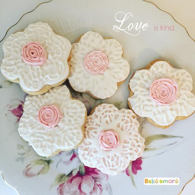 valentine flower doily sugar cookies