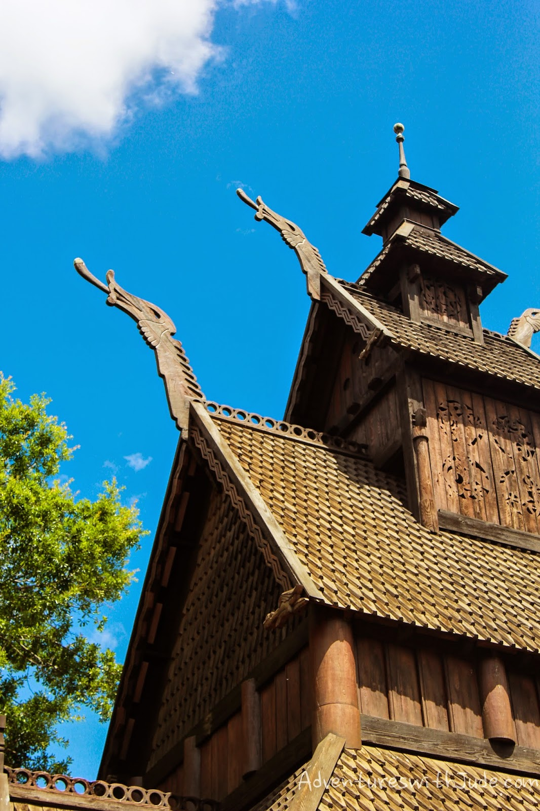 Viking prowls on Stave Church roof