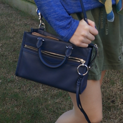 olive shorts with navy Rebecca Minkoff Micro Bedford zip satchel in twilight | awayfromtheblue