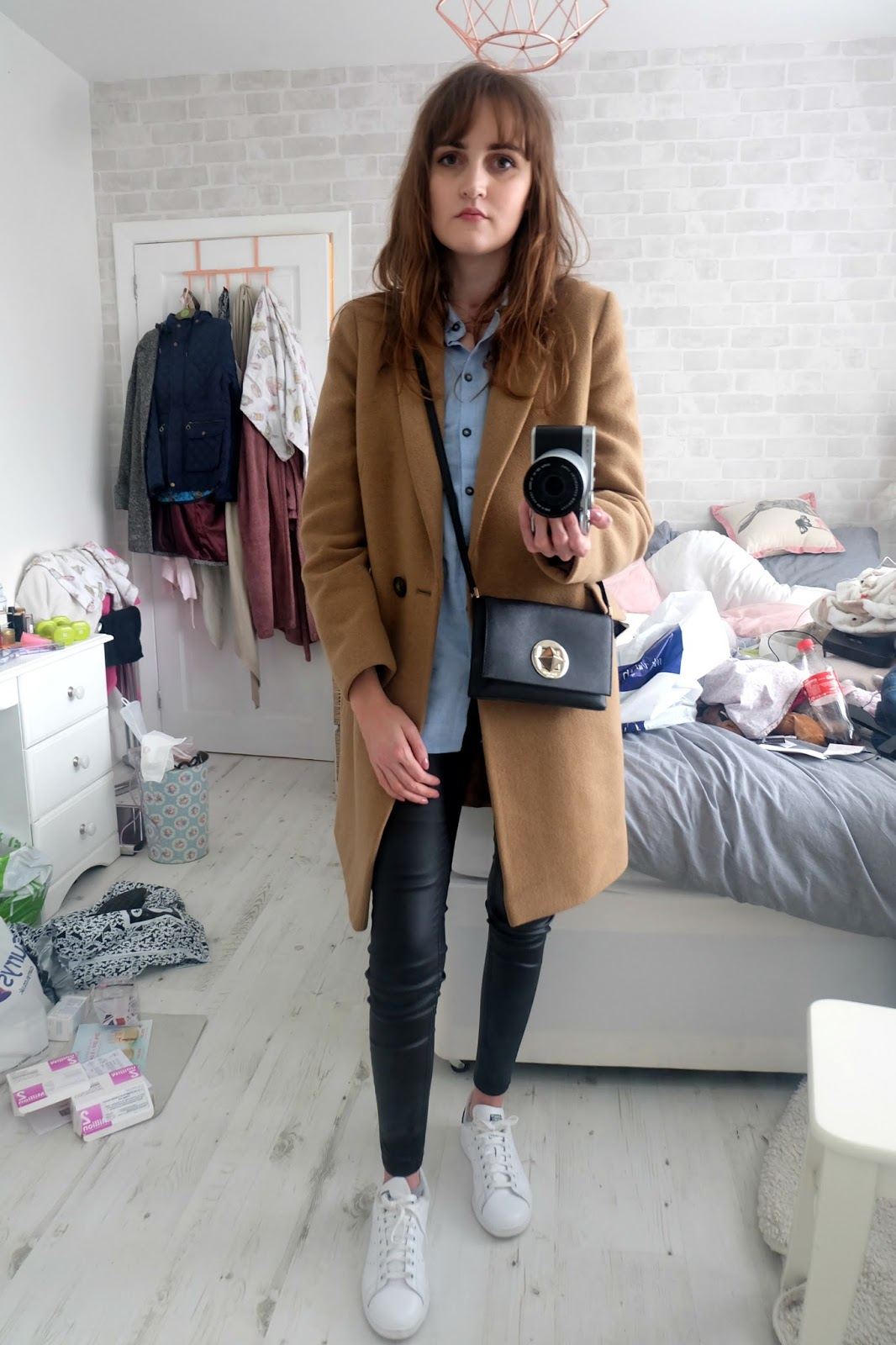 topshop blue shirt, leather look jeans new look, adidas stan smith navy and white, marks and spencer camel coat, kate spade sally bag