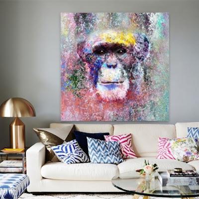 Peinture sur toile de chimpanzé