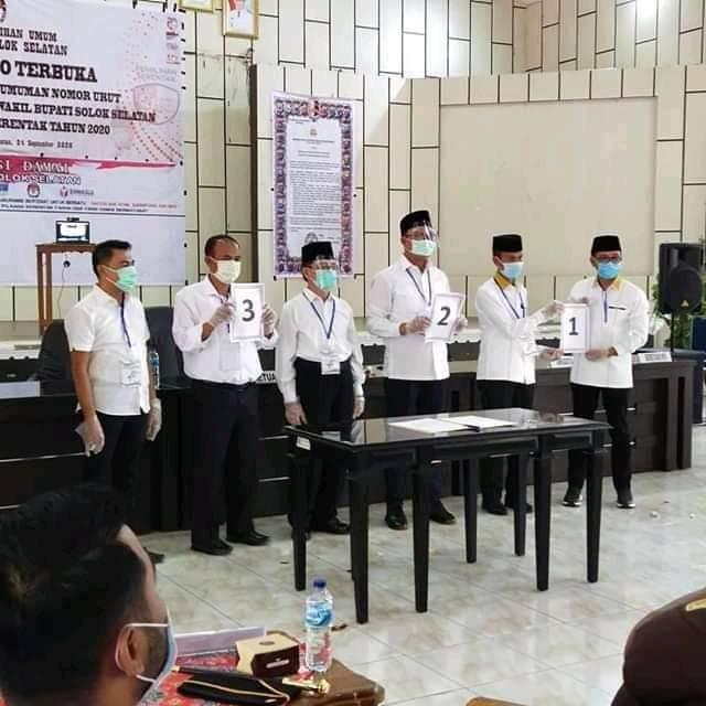Tiga Pasang Calon Bupati dan Wakil Bupati Solsel telah di Undi Nomor Urutnya | dutametro