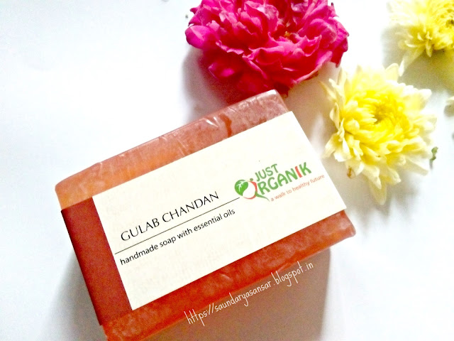 Just Organik Gulab Chandan (Rose-Sandal)- Handmade Soap with essential oils, Review