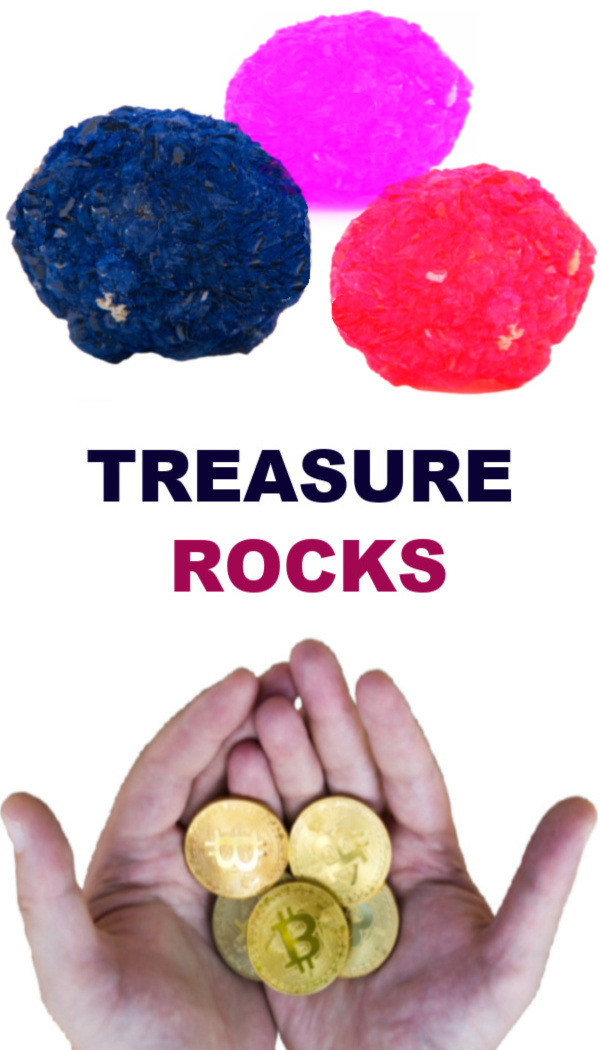 How to make magic treasure rocks for kids. #treasurehunt #treasurerocks #magicrocks #fizzingrocks #growingajeweledrose #activitiesforkids