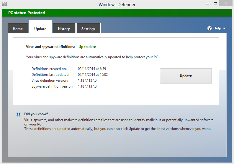 Windows Defender Up to date