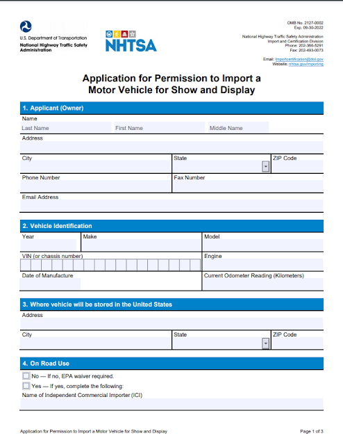 Application for Permission to Import a Motor Vehicle for Show and Display