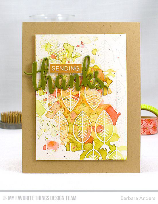 Handmade card from Barbara Anders featuring Label Maker Sentiments and Lisa Johnson Designs Geometric Greenery stamp sets and Thanks & Hello Die-namics #mftstamps