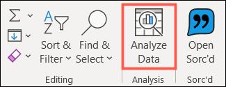 انقر فوق تحليل البيانات في علامة التبويب الصفحة الرئيسية